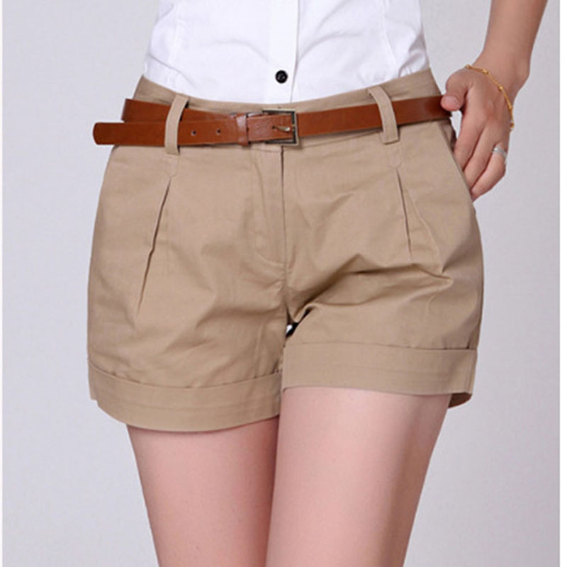 Summer Women Casual Shorts 2XL New Lady Female Casual Draped Summer Shorts Pockets Zipper Solid Khaki / White