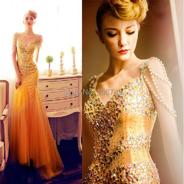 robe de soiree 2018 new pearl vestido de festa longo sexy gold long luxury crystal Formal gown prom mother of the bride dresses