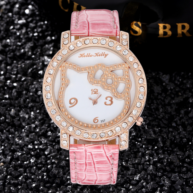 fe2c66c35 Rhinestone Diamond Leather Watch Women's Fashion Rose Hello Kitty Watches  Luxury Ladies Wristwatch Child Cartoon Quartz Clock
