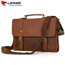 LEXEB Brand Vintage Men's Crazy Horse Full Grain Leather Messenger Bag Post Satchels Men Bags 13.3″ Laptop High Quality Brown