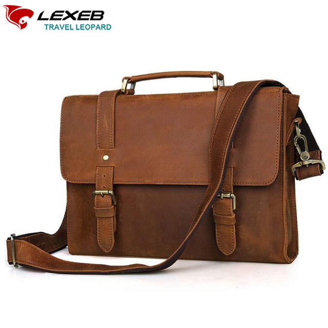 Lexeb Brand Vintage Men S Crazy Horse Full Grain Leather Messenger Bag Post Satchels Bags 13 3