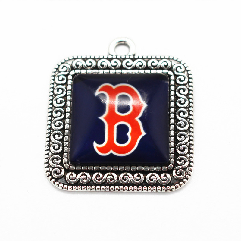 New Arrive 20pcs/lot Red Sox baseball Team sports dangle charms DIY necklace pendant han ...