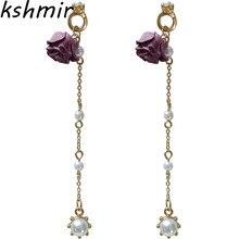 Fashionable flowers ms pearl earrings long eardrop gifts 2018 Big modern Earrings vintage art Jewelry