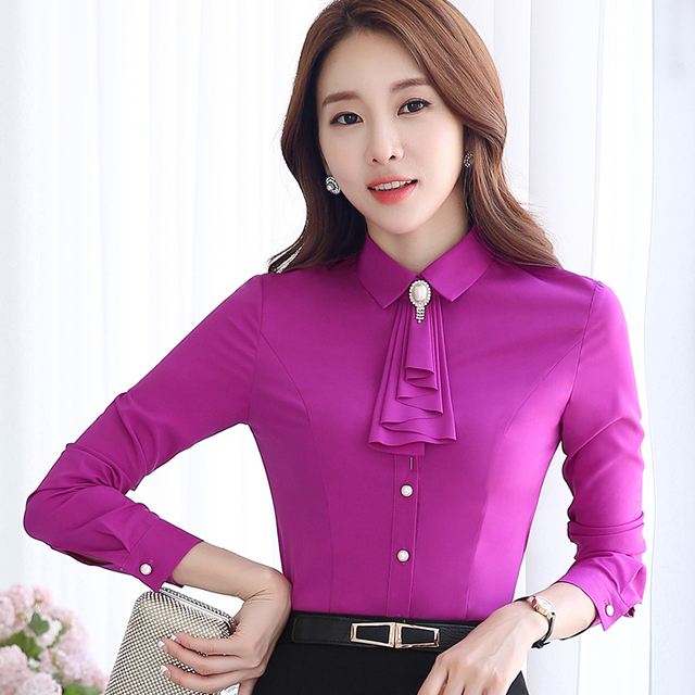 Women Clothing Bow Tie Blouse Fashion Autumn Long Sleeve Chiffon