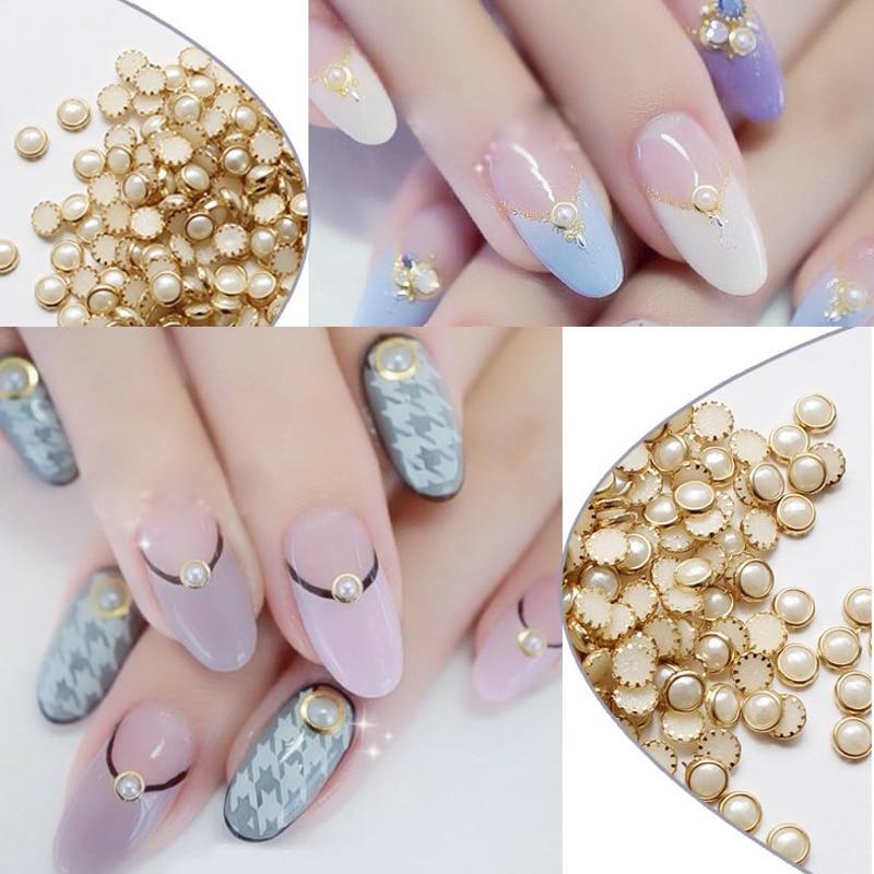 ᗚGold Alloy Nail Art Pearls Glitter Studs Beads Rhinestones Nail ...