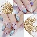 Gold Alloy Nail Art Pearls Glitter Studs Beads Rhinestones Nail Art Beige Design Metal Edge Studs Nail Art Beads DIY 500pcs