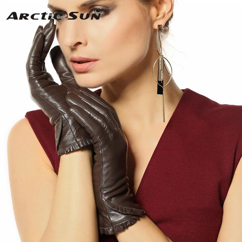 Jesenske zimske ženske rokavice iz pravega usnja ženske modne trendi kozje kože tople žametne podložne vozne rokavice L001NC