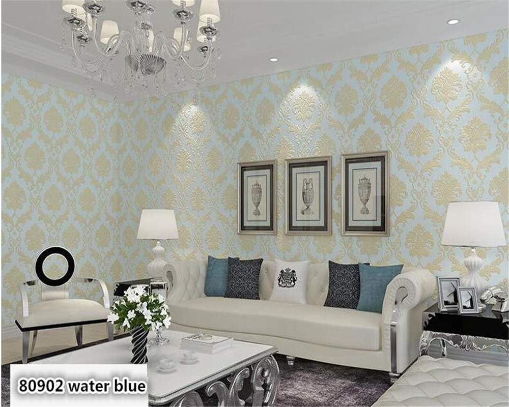 beibehang Luxury European 4D precision nonwoven wall paper bedroom living room beauty salon blue white fashion simple wallpaperbeibehang Luxury European 4D precision nonwoven wall paper bedroom living room beauty salon blue white fashion simple wallpaper