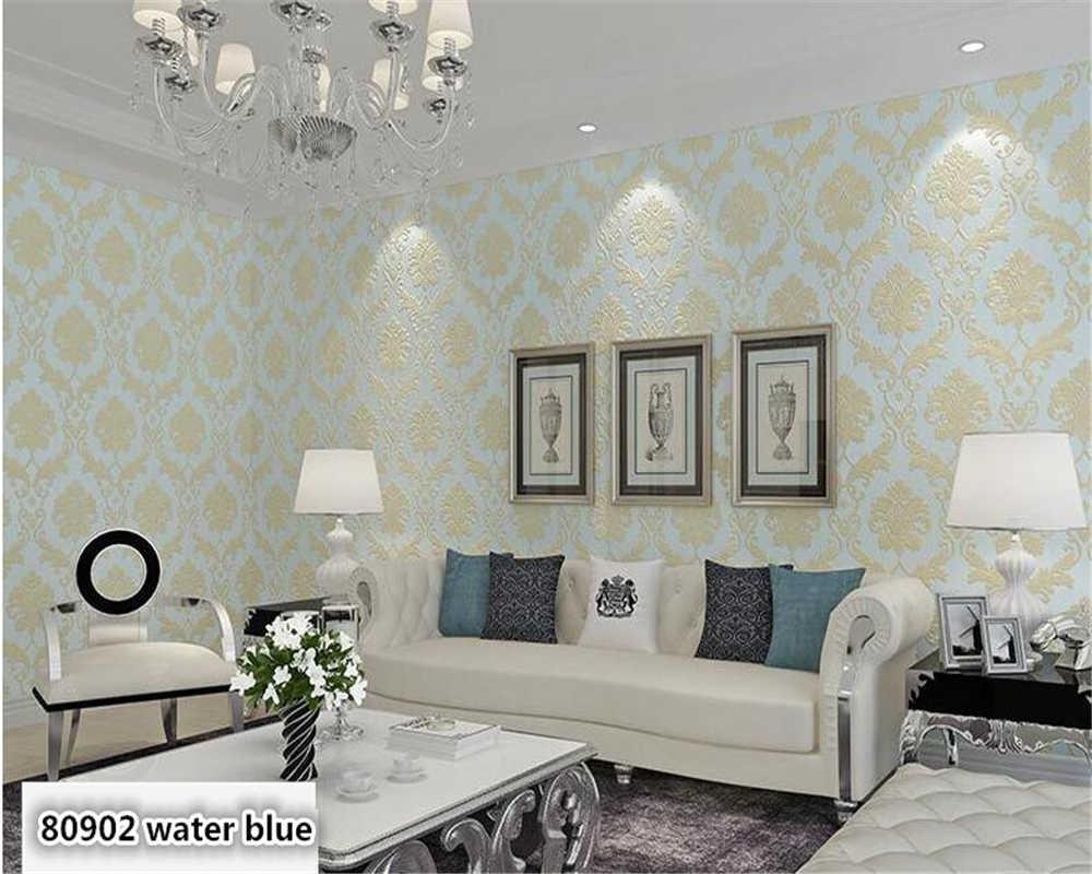 Beibehang Luxury European 4d Precision Nonwoven Wall Paper Bedroom Living Room Beauty Salon Blue White Fashion Simple Wallpaper Simple Wallpapers Fashion Wallpaperwallpaper Fashion Aliexpress
