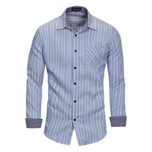e7ea24b6184 England Style Casual Striped Mens Shirts Fitted Cotton Business Shirt Long  Sleeve Turn-down Collar Summer Office Wear