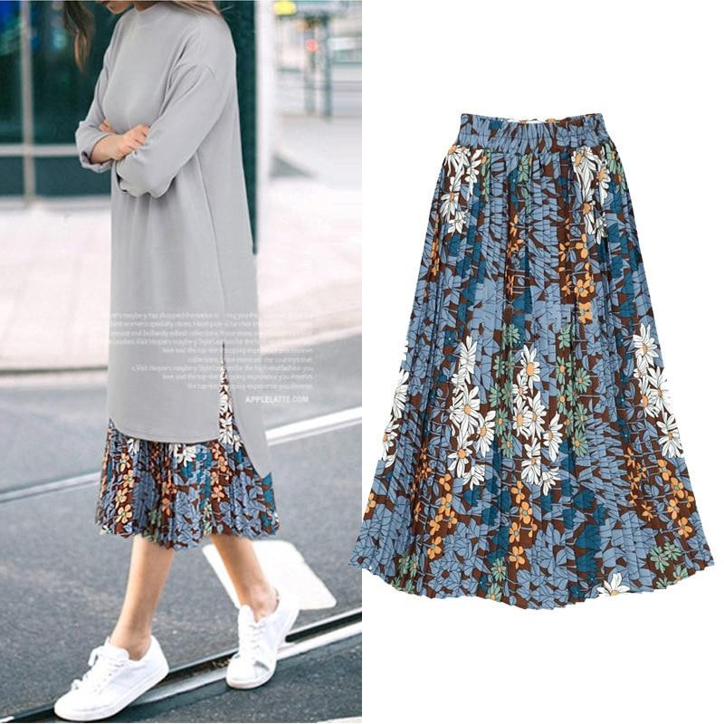 db4fb7a403c Women Bohemian Summer Skirt Belt Ladies Floral Print Chiffon Beach Long  Skirt Elastic Waist Big Hem Boho Skirts Plus size 5XL