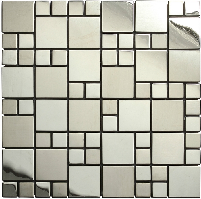 US $202.39 8% di SCONTO In acciaio inox metallo tessere di mosaico per  piastrelle mosaico desgin metal parete della cucina piastrelle argento  colore ...