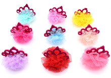 New 100pcs Dog Hair Bows crown lace style Pet Dog Hair Accessories Rubber Bands Pet Grooming Supplies