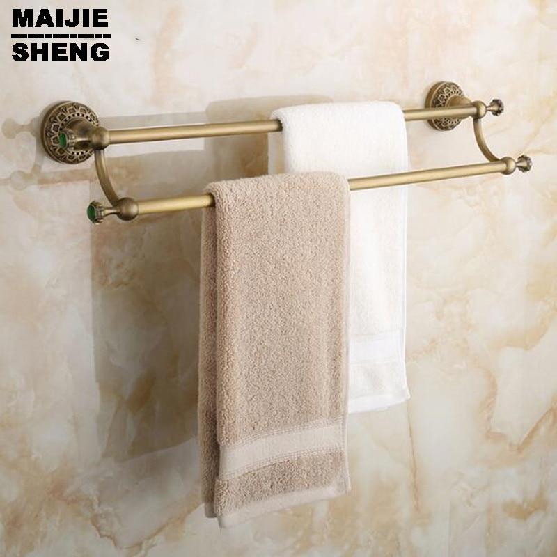 Double towel bars bathroom towel rack wall mounted antique bathroom towel bars Bathroom accessories Antique brass 60cm new arrival bathroom towel rack luxury antique copper towel bars contemporary stainless steel bathroom accessories 60cm k301