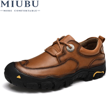 MIUBU Men Casual Shoes Mens Working New Fashion Brand Design Outdoor Leisure Big size leather shoes men