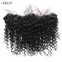 Lolly Hair Brazilian Deep Wave Frontal 13x4 Inch Free Part Ear To Ear Lace Frontal Closure 100% Human Hair Frontal Non Remy 1 Pc