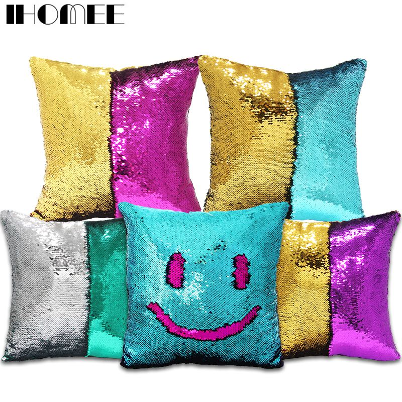 Aliexpress.com : Buy Reversible Sequins Mermaid Pillow Cushion Cover Decorative Pillows For Sofa ...