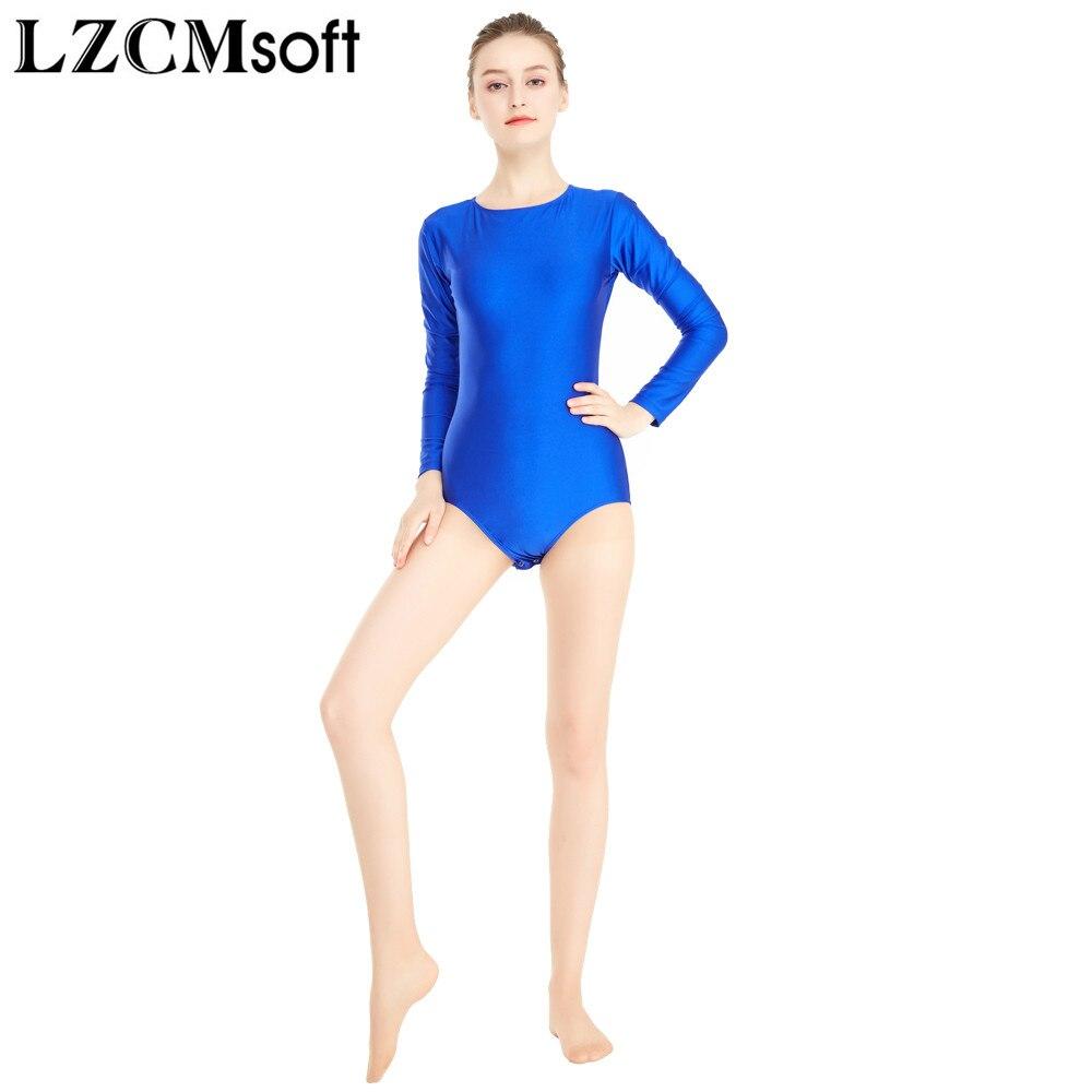Women's Crew Neck Lycra Spandex Ballet Dance Leotards Girls Stretch Dance Wear Bottom Button Bodysuits