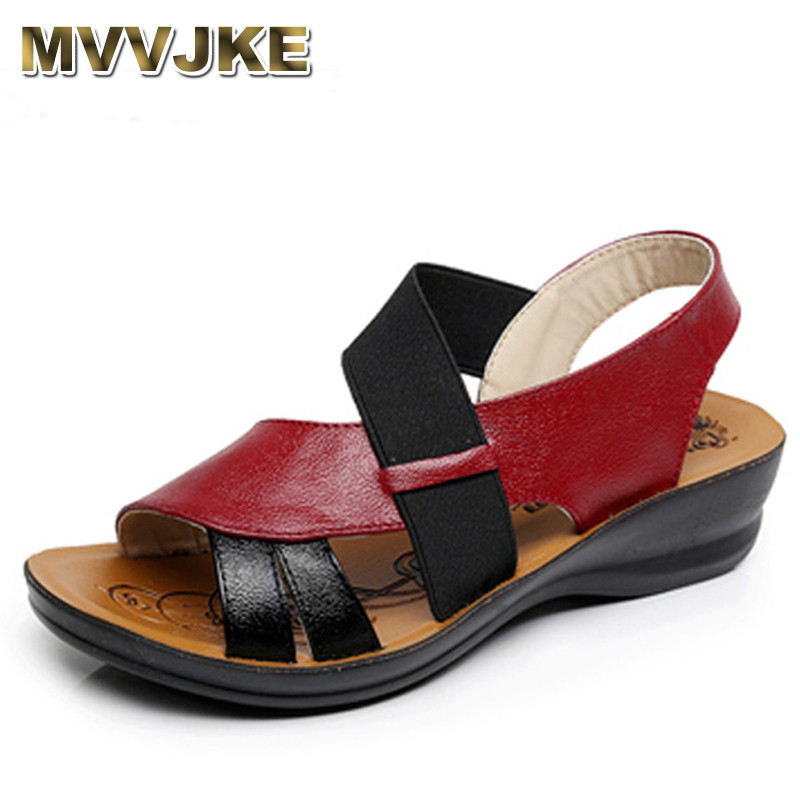 MVVJKE Summer New Woman Soft bottom middle-aged Sandals Fashion comfortable mother sandals leather large size women's shoes timetang summer new middle aged soft leather mother sandals soft bottom elderly large size flat woman non slip sandals c212