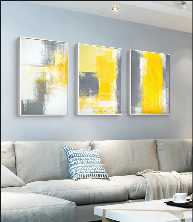 Yellow And Gray Canvas Wall Art.Us 49 48 16 Off Muya 3 Piece Canvas Painting Abstract Oil Painting Handmade Bright Yellow Grey Wall Art Canvas Wall Pictures For Living Room In