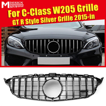 W205 GTS Style ABS Silver Front Grilles For C-Class C180 C200 C250 Sport without Camera Hole Bumper Grille 2015-in