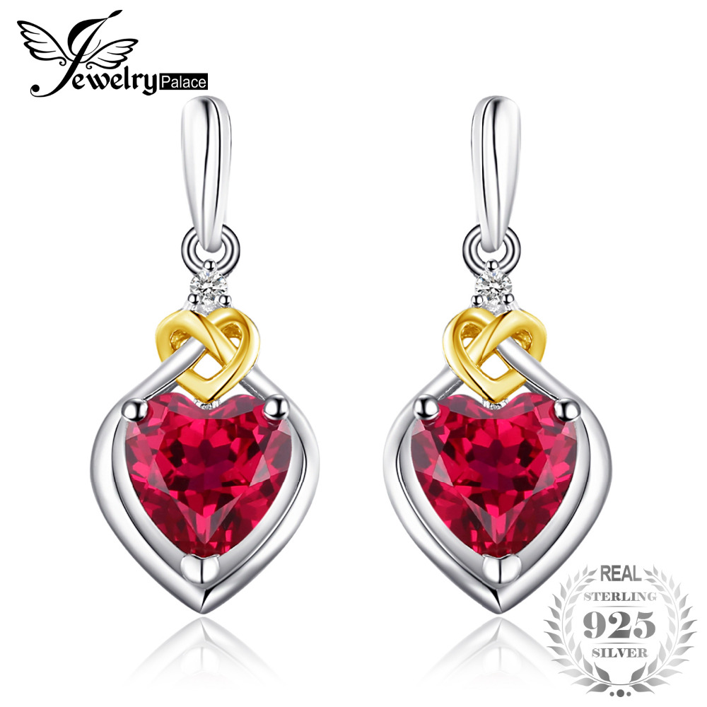 JewelryPalace Love Knot Heart 3.4ct Created Ruby Drop Earrings For Women 18K Yellow Gold 925 Sterling Silver Brand Fine Jewelry комплект skila комплект