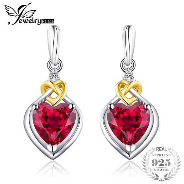 Jewelrypalace Love Knot Heart 3 4ct Created Ruby Drop Earrings For Women 18k Yellow Gold 925