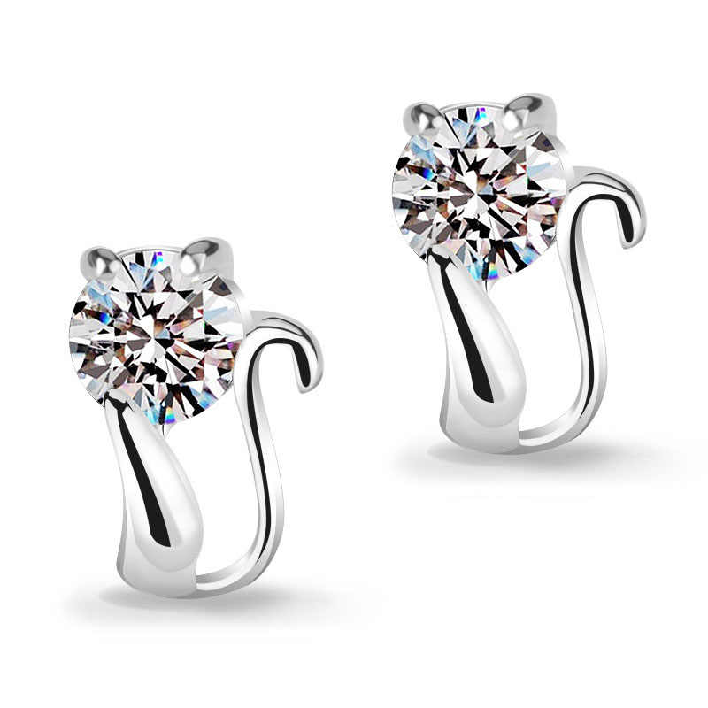 Free Shipping Fashion S90 Jewelry Earring Lovely Cat CZ Stud Earrings Women Girls Accessories Wholesale