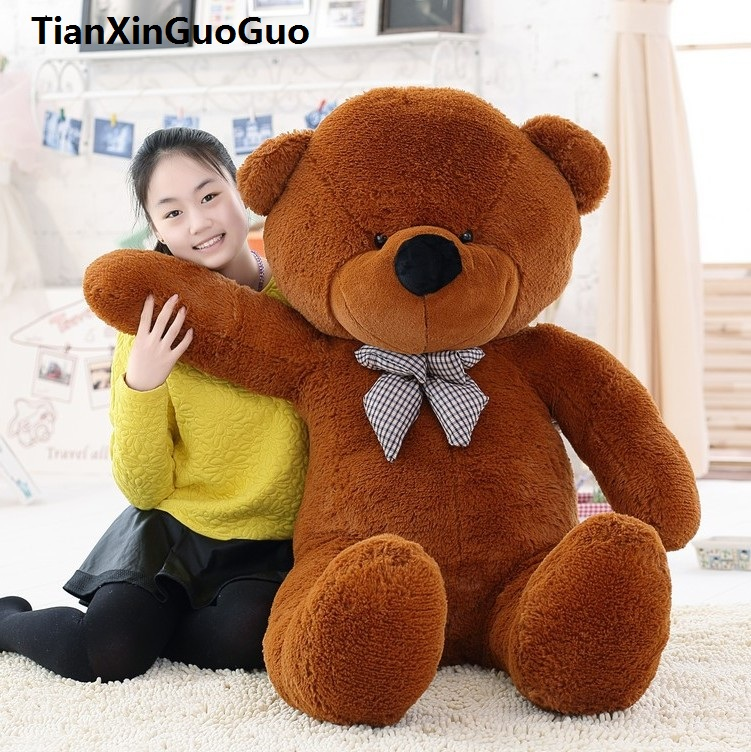 fillings toy large 140cm brown bear plush toy bowtie teddy bear doll soft hugging pillow Christmas gift w0188 stuffed toy huge 160cm pink strawberry fruit teddy bear plush toy bear doll hugging pillow christmas gift b0790