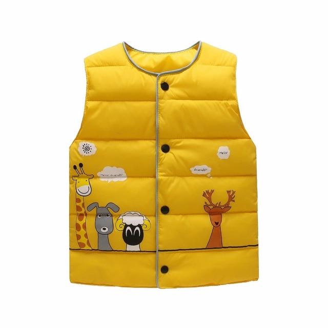 Con hươu cao cổ phim hoạt hình 100% cotton chất lượng cao parkas Trẻ Em của vest cho cô gái áo cậu bé xuống và parkas trẻ em vest mùa đông quần áo ấm