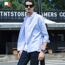 LANGMENG New Arrival Long Sleeve Pure Cotton Striped Casual Shirts Men Fashion Business Shirt Male Dress Brand Clothing