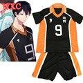 Haikyuu Kageyama Tobio traje de Cosplay Uniforme De La Escuela Secundaria Jersey Voleibol Karasuno WXC Número 9 Camiseta y Pantalones de Traje de Verano