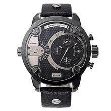 Moda Dos Tiempo Movimientos de Cuarzo Hombres Del Reloj de Lujo Famosa Marca de Cuero Para Hombre Relojes Deportivos Fecha Reloj Militar relogio