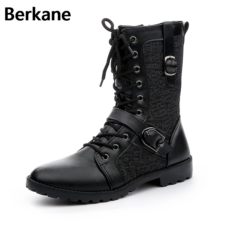 Motorcycle Boots Leather Men 2017 Winter Side Zip In Tube Male Punk Black Brand Lace Up