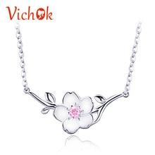 VICHOK Crystal Jewelry Pink Necklace Fashion Charm Choker jewelry 925 silver bijoux en argent 925 jade jewelry цена