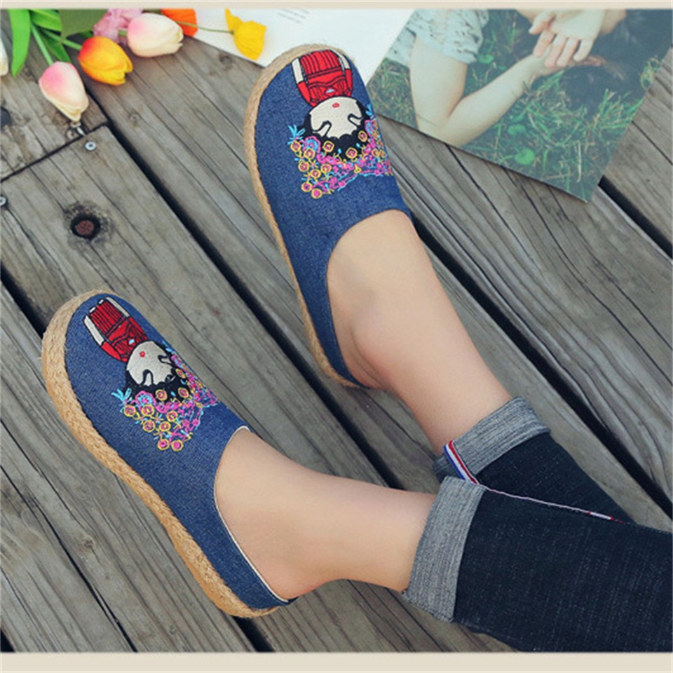 2019 summer women 39 s slippers fashion embroidered cloth shoes woven hemp breathable sandals female slippers in Slippers from Shoes