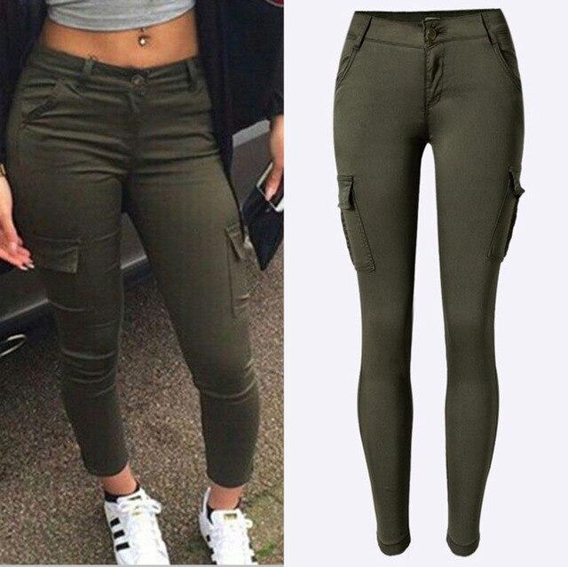 7cbccad10 Moda Mujer Escalador Ejército Verde Sexy Low Rise Jeans Damas Pantalones De  Mezclilla Skinny Slim Femme