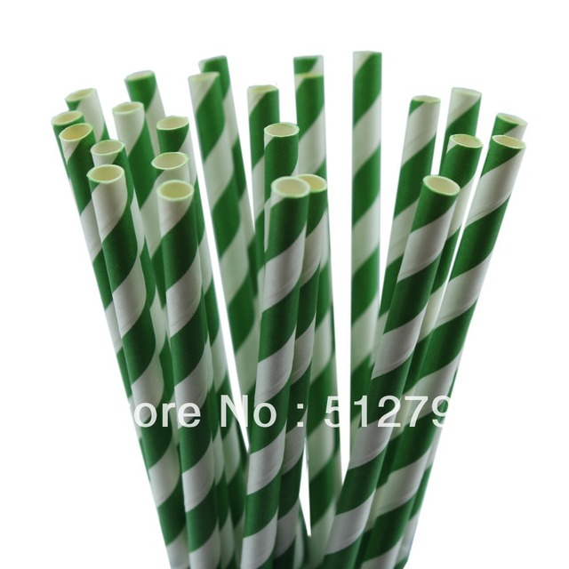 Free shipping wholesale paper drinking straws party supply wedding supplies stripe gree 364C color  500pcs