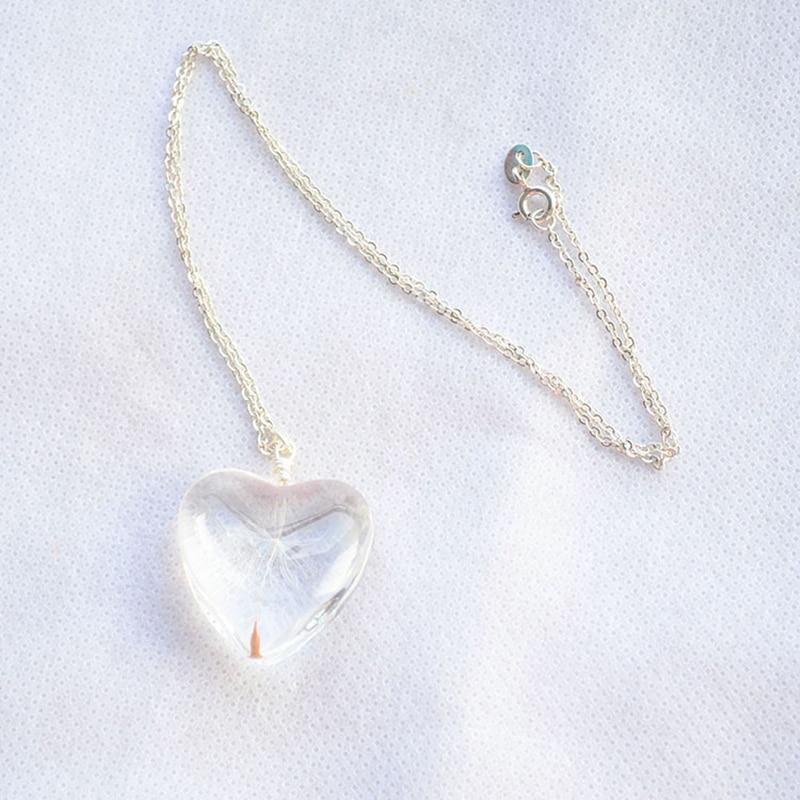 Dandelion Make a Wish Real Flower Big Heart Love Colgante Collar de - Bisutería - foto 3