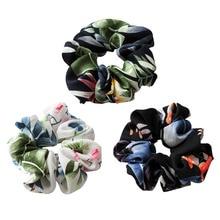 Korean style women hair scrunchies Fashion Women Chiffon Printing headband for the Horsetail Solid Hair Accessories