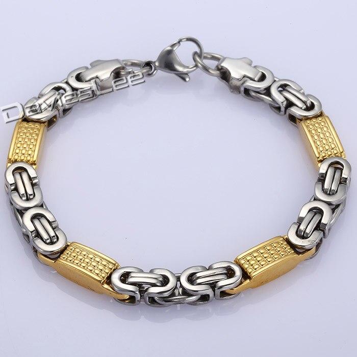 0e45aeb1fddc Davieslee Fashion Gift 8mm Mens Chain Boys Bracelet Gold Silver Tone Flat  Byzantine Chain Link Stainless Steel Bracelet DLKB403-in Chain   Link  Bracelets ...