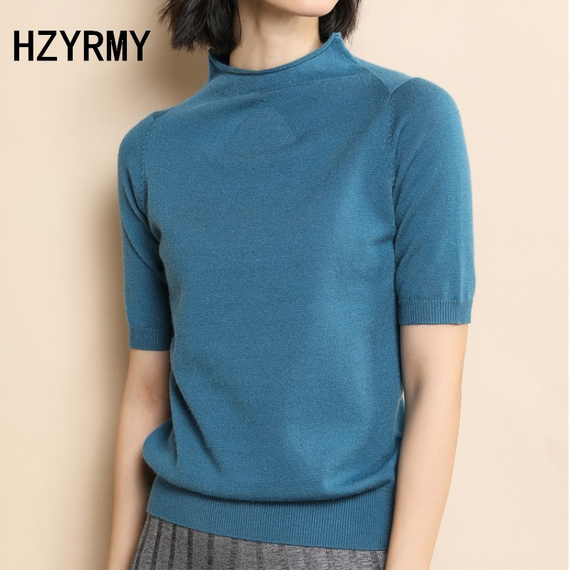 HZYRMY Spring Summer New Womens Cashmere Sweater Short Sleeve vogue Solid Color O-Neck Wool Knit Pullovers High Quality Shirt