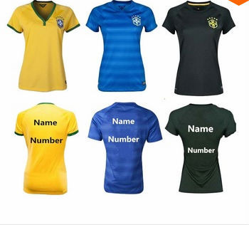 c1277a5c9 FREE SHIPPING 2014 Brazil women home yellow soccer jerseys Brazil female  football jerseys new football shirt