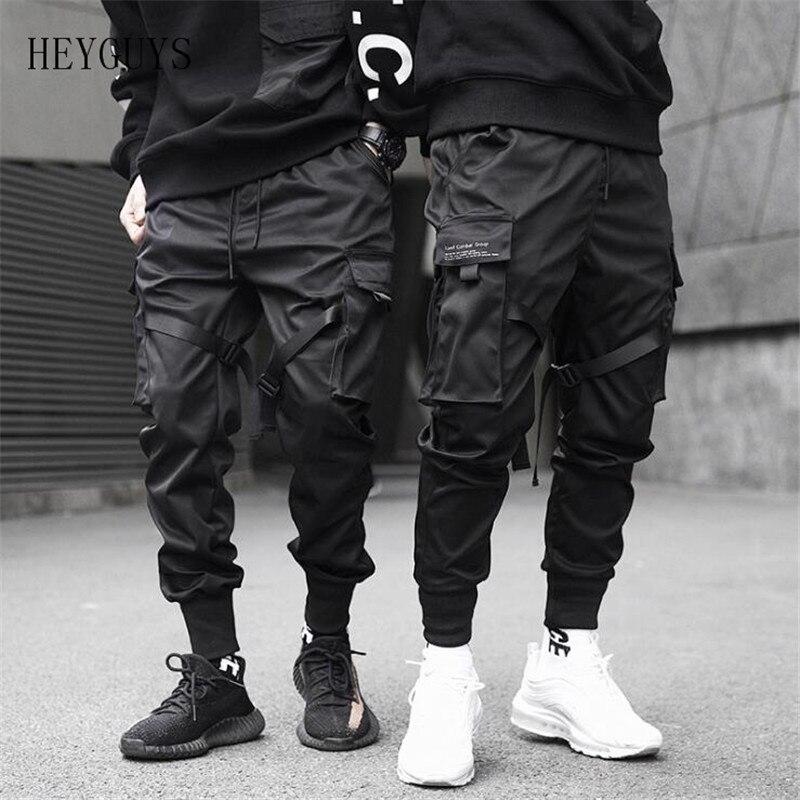 HEYGUYS Trousers Cargo-Pants Pocket Joggers Harajuku Harem Black XL Hip-Hop XXXL Ribbons