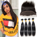 Vip Beauty Malaysian Virgin Hair Straight Lace Frontal Closure With Bundles 6A Grade Malaysian Straight Virgin Hair Lace Frontal