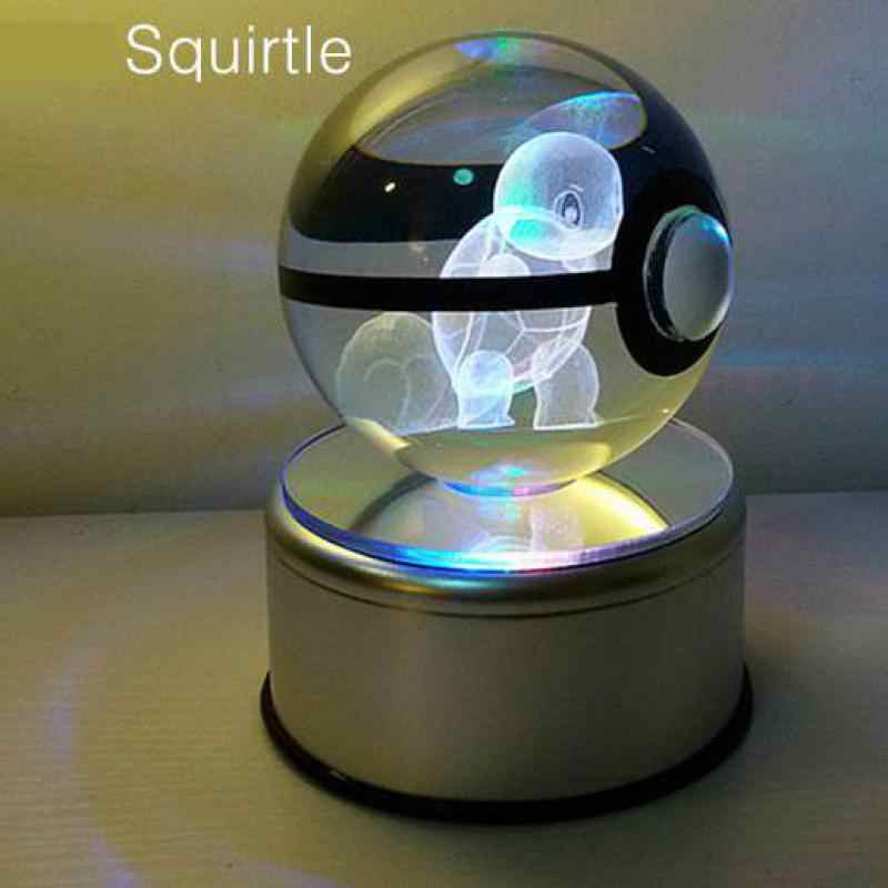 Super smoka Pokemon kryształowe lampy stołowe średnica 5cm szklane kulki Pokemon 5v lampy biurko zabawki dla dekoracyjne prezenty