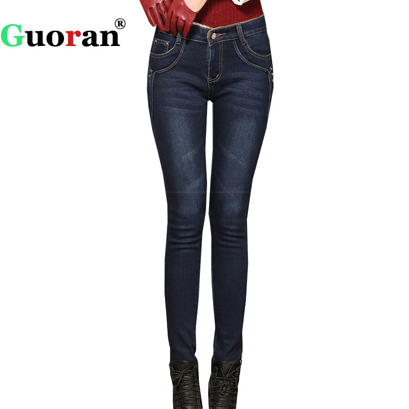 {Guoran} Warm Winter Women Thick Jeans Pants 2017 Plus Size 34 Velvet fleece Stretch Female Jeans Leggings Denim Blue Trousers chainsaw clutch with drum needle bearing kit fit partner 350 351 chain saw replaces parts