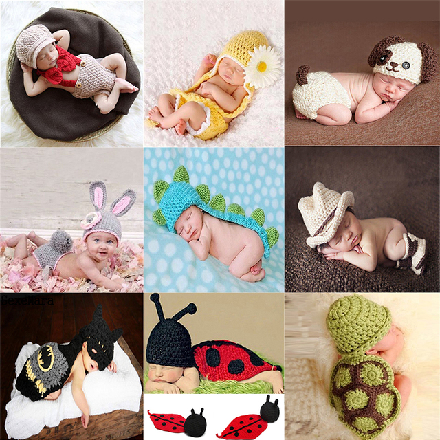 bdc0064b21be4 US $1.9 30% OFF|1 Set Photo Props Photography Prop Newborn Baby Girls  Crochet Knit Costume Clothes Sunflower Caps Gift Set-in Hats & Caps from  Mother ...