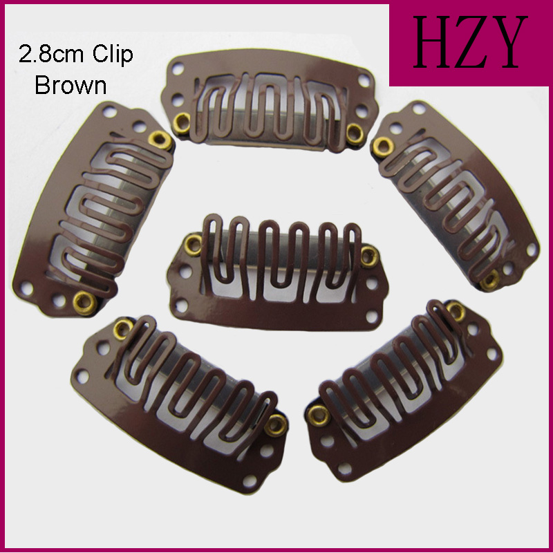 High Quality U Shape Black Colored Wigs Hair Clips 10Pcs Metal Snap Clips For Feather Hair Extensions Wigs Weft 28mm