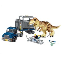 лучшая цена Compatible legoings 631Pcs Jurassic World T. Rex Transport Truck Dinosaur Tyrannosaurus Rex Model Building Blocks Toys Bricks